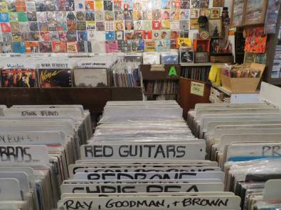 Red Guitars in shop in San Francisco