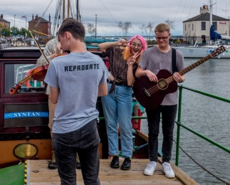 Work in Progress on the MV Syntan at Hull Folk and Maritime Festival 2018