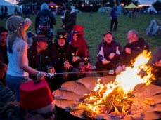 Zebedee and Quentin by the fire Northern Green Gathering 2019